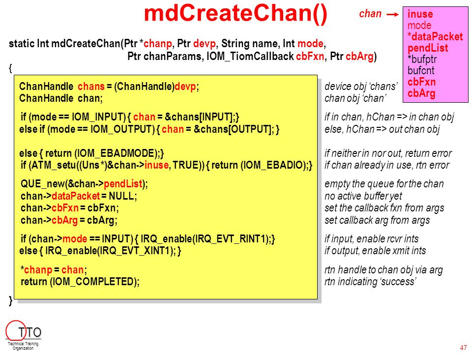 mdCreateChan() static Int mdCreateChan(Ptr *chanp, Ptr devp, String name, Int mode, Ptr chanParams, IOM_TiomCallback cbFxn, Ptr cbArg) { ChanHandle ch