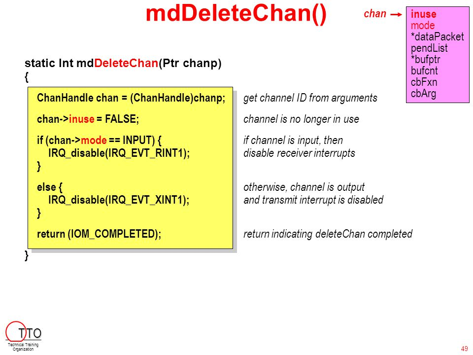 mdDeleteChan() static Int mdDeleteChan(Ptr chanp) { ChanHandle chan = (ChanHandle)chanp; get channel ID from arguments chan->inuse = FALSE; channel is