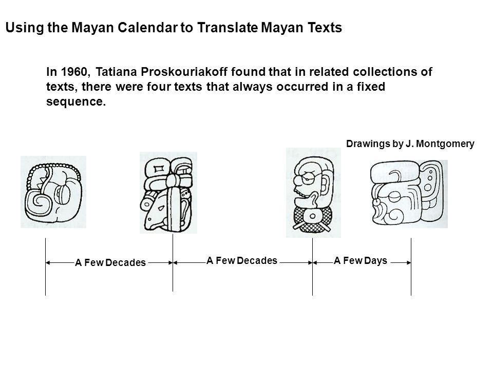 Using the Mayan Calendar to Translate Mayan Texts A Few Decades A Few Days In 1960, Tatiana Proskouriakoff found that in related collections of texts,