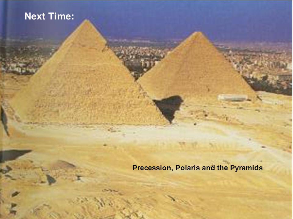Next Time: Precession, Polaris and the Pyramids