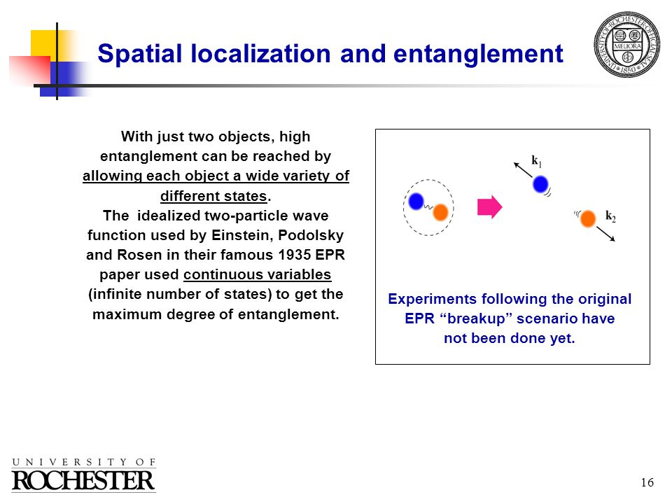 16 Spatial localization and entanglement With just two objects, high entanglement can be reached by allowing each object a wide variety of different states.