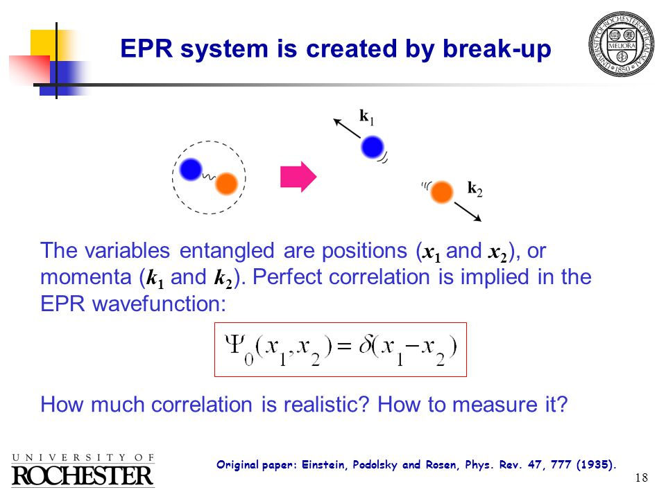 18 EPR system is created by break-up The variables entangled are positions ( x 1 and x 2 ), or momenta ( k 1 and k 2 ).