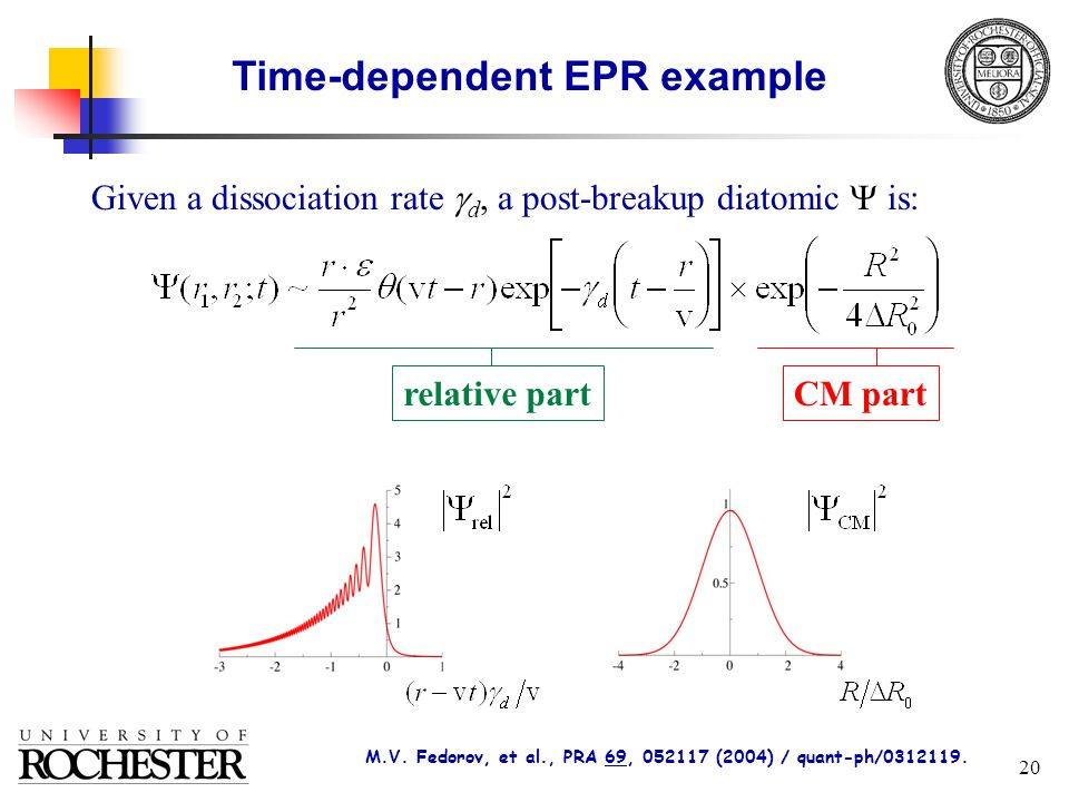 20 relative partCM part Time-dependent EPR example Given a dissociation rate  d, a post-breakup diatomic  is: M.V.