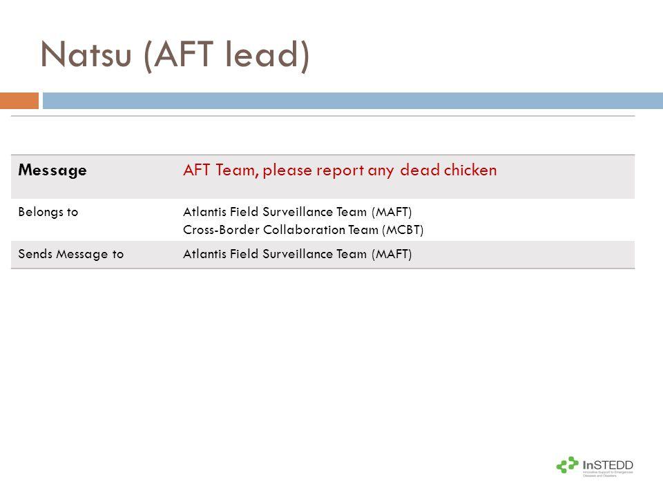 Natsu (AFT lead) MessageAFT Team, please report any dead chicken Belongs toAtlantis Field Surveillance Team (MAFT) Cross-Border Collaboration Team (MCBT) Sends Message toAtlantis Field Surveillance Team (MAFT)