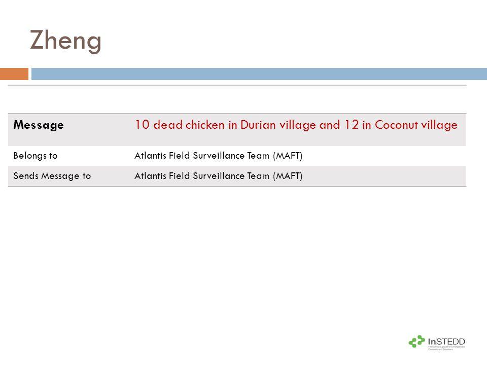 Zheng Message10 dead chicken in Durian village and 12 in Coconut village Belongs toAtlantis Field Surveillance Team (MAFT) Sends Message toAtlantis Field Surveillance Team (MAFT)