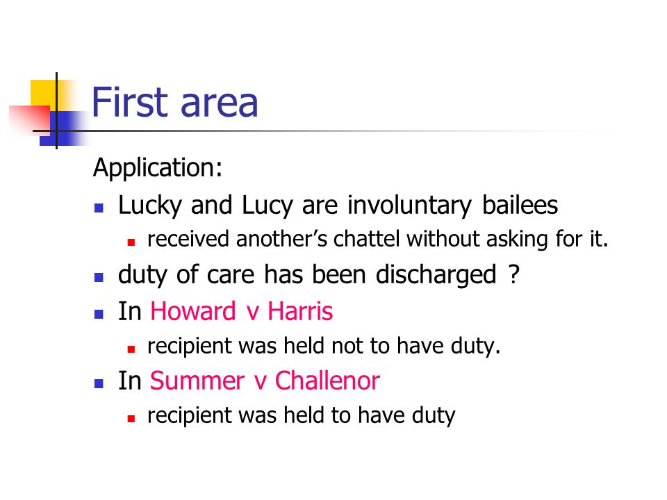 First area Application: Lucky and Lucy are involuntary bailees received another's chattel without asking for it. duty of care has been discharged ? In