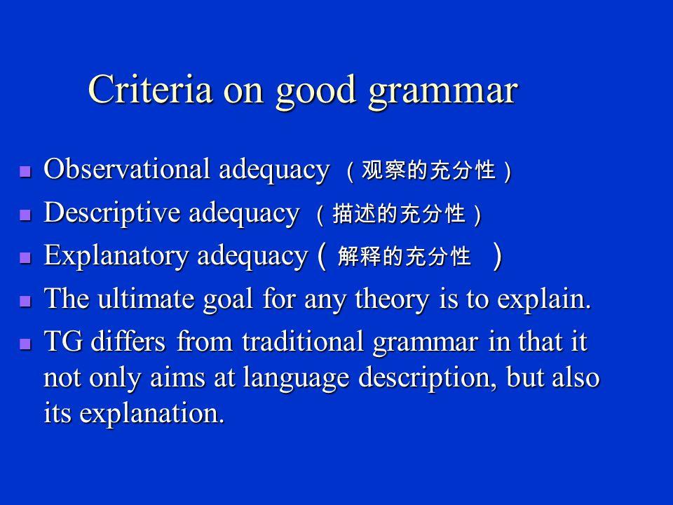 Transformational Generative Grammar (TG) Norm.