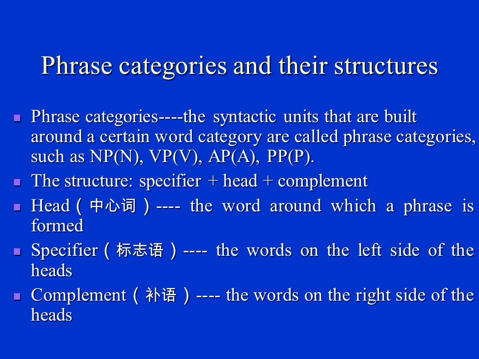 The criteria on which categories are determined Meaning (意义) Meaning (意义) Inflection (屈折变化) Inflection (屈折变化) Distribution (分布) Distribution (分布) Note: The most reliable criterion of determining a word ' s category is its distribution.