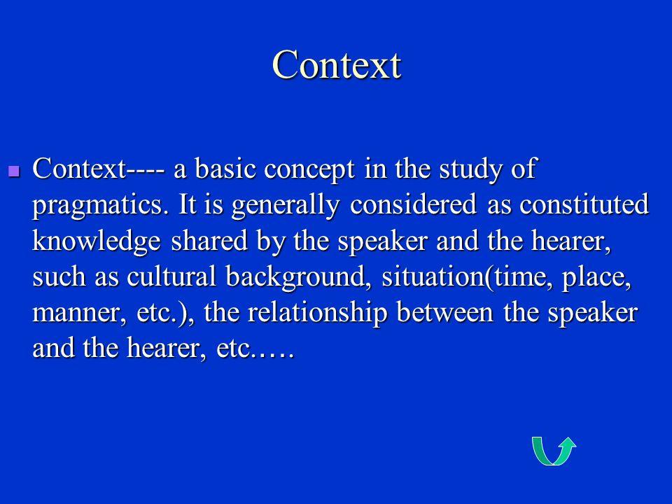 Some basic notions in Pragmatics Context Context Pragmatics vs.