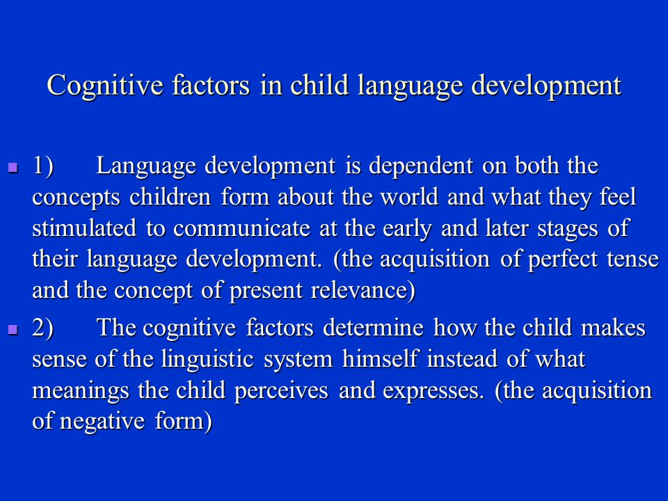 An interactionist view of language acquisition The interactionist view holds that language develops as a result of the complex interplay between the human characteristics of the child and the environment in which the child develops.