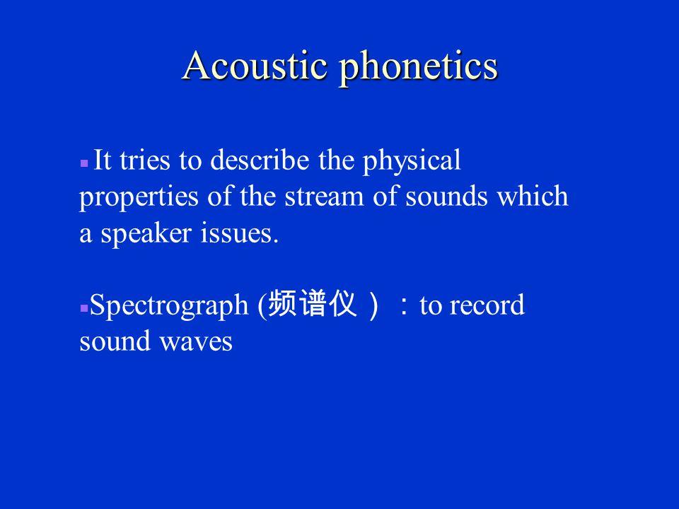 Articulatory phonetics ■ It has the longest history.
