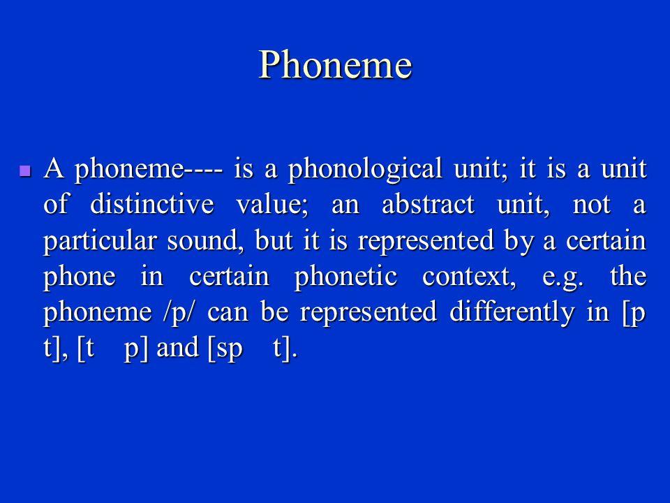 Phone A phone---- a phonetic unit or segment.