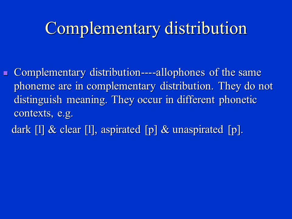 Phonemic contrast Phonemic contrast----different or distinctive phonemes are in phonemic contrast, e.g.
