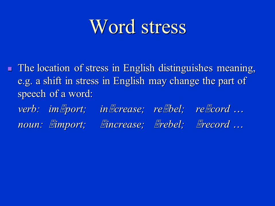 Stress Word stress Word stress Sentence stress Sentence stress