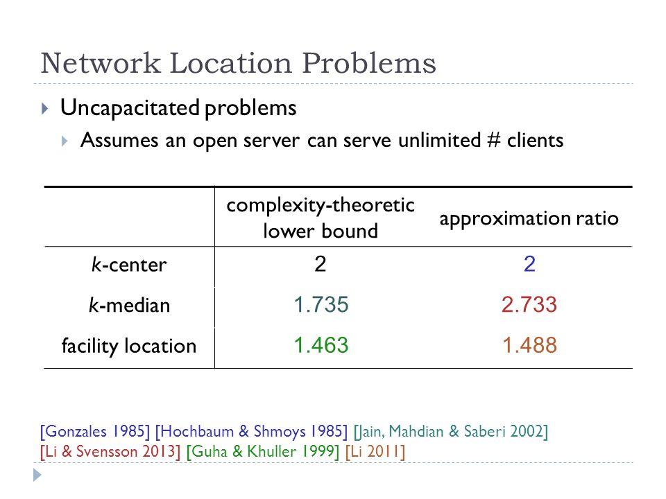 Network Location Problems  Capacitated problems complexity-theoretic lower bound approximation ratio k-center 3O(1) k-median 1.735 facility location 1.4635 [Cygan, Hajiaghayi & Khuller 2012] [Jain, Mahdian & Saberi 2002] [Guha & Khuller 1999] [Bansal, Garg & Gupta 2012]