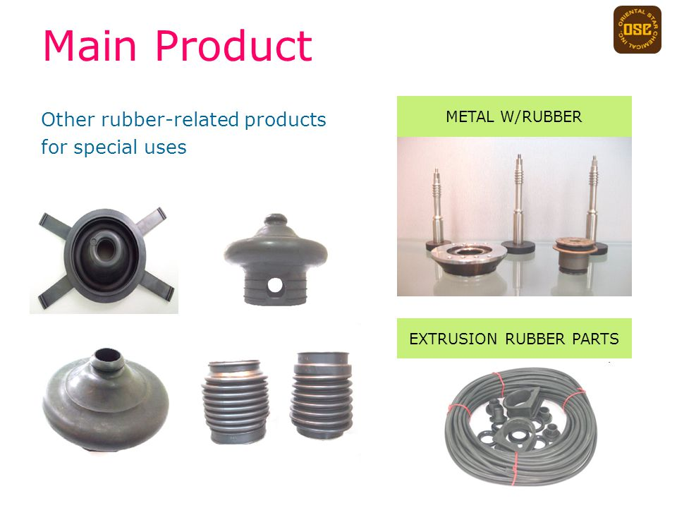Other rubber-related products for special uses Main Product EXTRUSION RUBBER PARTS METAL W/RUBBER