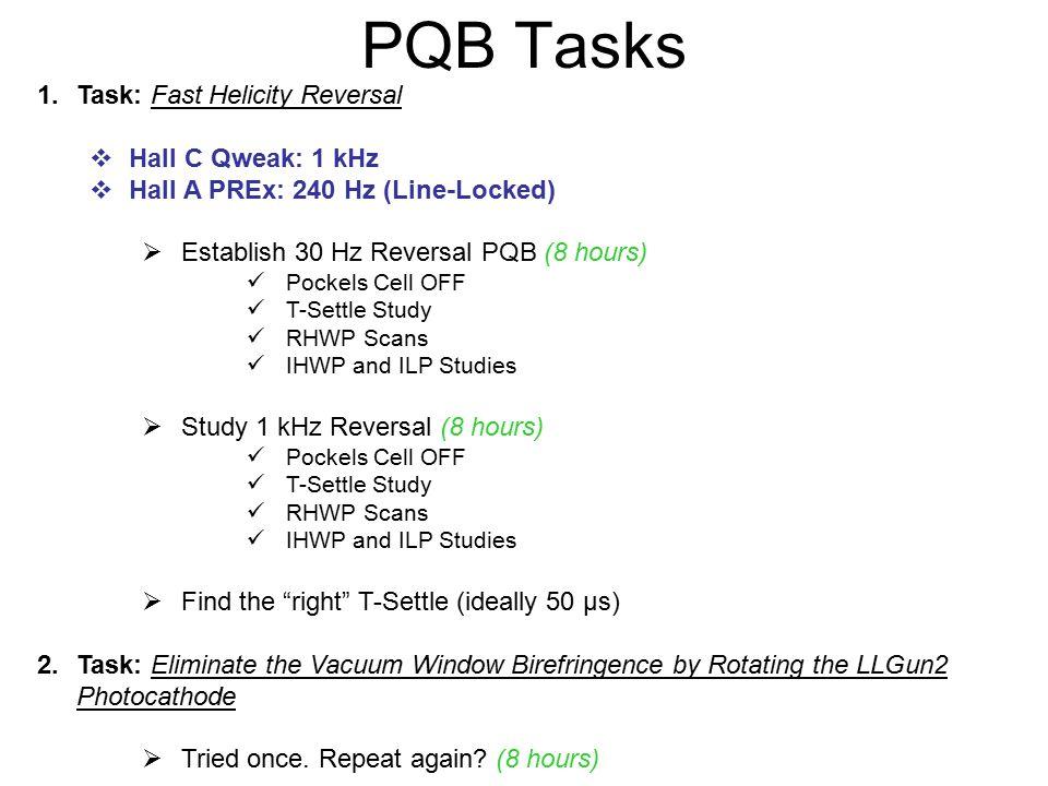 PQB Tasks 1.Task: Fast Helicity Reversal  Hall C Qweak: 1 kHz  Hall A PREx: 240 Hz (Line-Locked)  Establish 30 Hz Reversal PQB (8 hours) Pockels Cell OFF T-Settle Study RHWP Scans IHWP and ILP Studies  Study 1 kHz Reversal (8 hours) Pockels Cell OFF T-Settle Study RHWP Scans IHWP and ILP Studies  Find the right T-Settle (ideally 50 µs) 2.Task: Eliminate the Vacuum Window Birefringence by Rotating the LLGun2 Photocathode  Tried once.