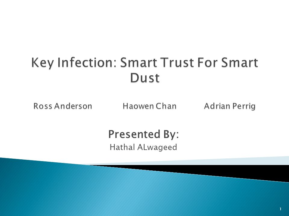  R.Anderson, H. Chan and A. Perrig. Key Infection: Smart Trust for Smart Dust.