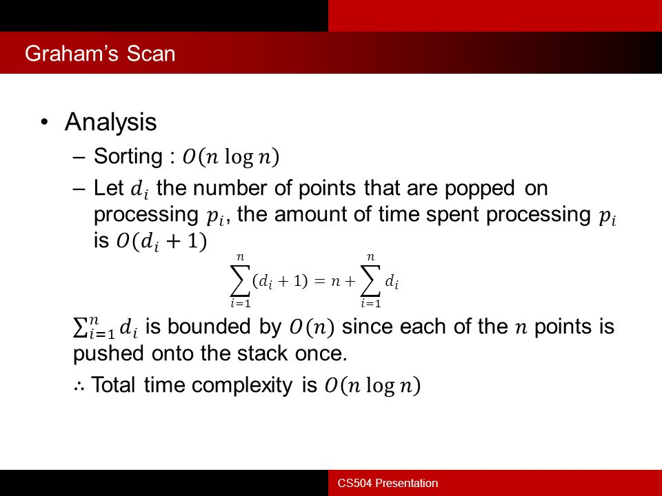 Summary CS504 Presentation Finding the convex hull of a set of points is an important problem that is often part of a larger problem Many different algorithms –Graham's Scan –Quickhull –Divide-and-Conquer –Jarvis's March –Chan's algorithm