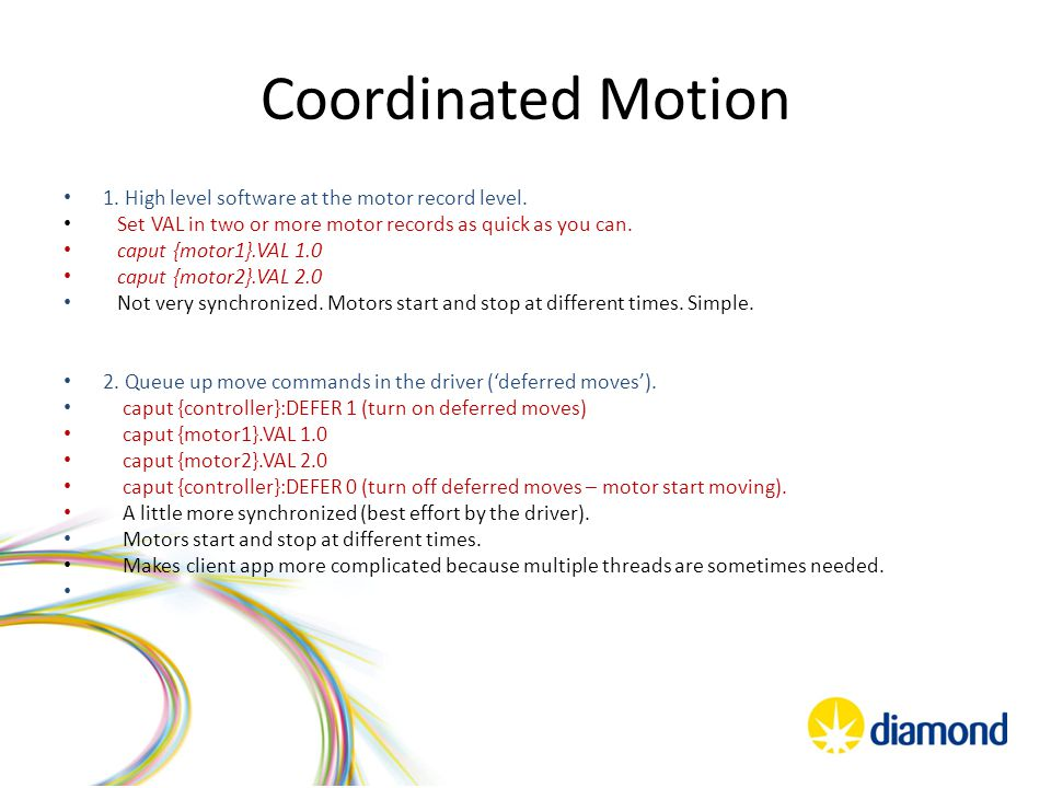 Coordinated Motion 3.Use controller co-ordinated, or group, moves.