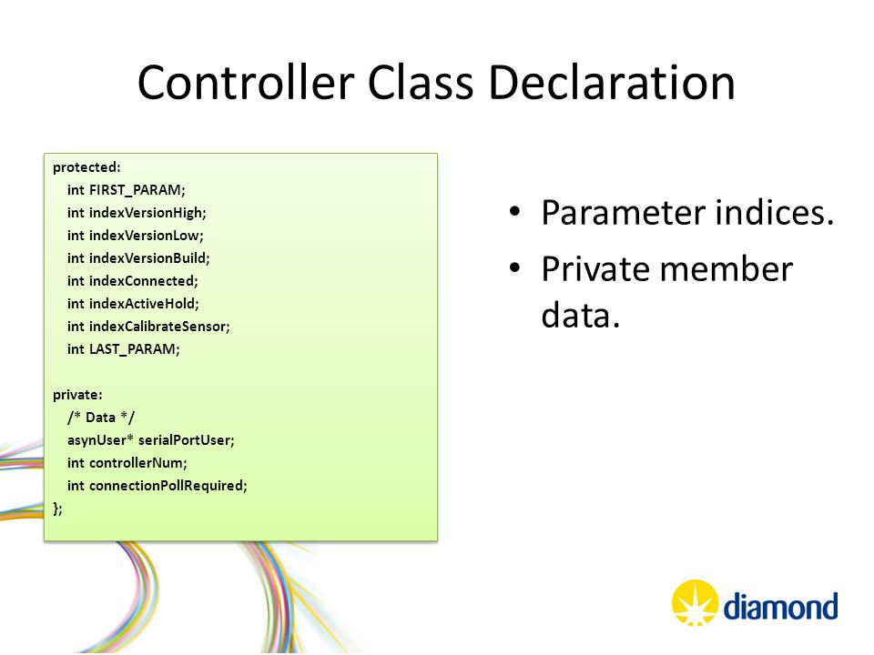Axis Class Declaration Override standard motor control functions Functions that implement extensions.
