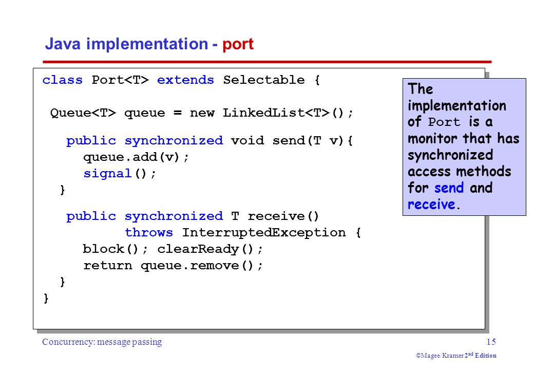 Concurrency: message passing15 ©Magee/Kramer 2 nd Edition Java implementation - port The implementation of Port is a monitor that has synchronized access methods for send and receive.