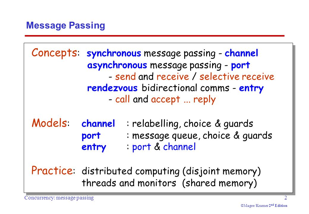 Concurrency: message passing3 ©Magee/Kramer 2 nd Edition  send(e,c) - send the value of the expression e to channel c.