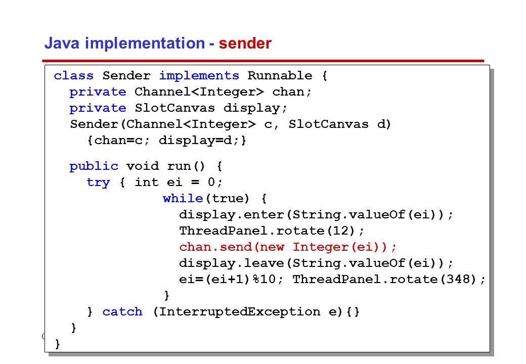 Concurrency: message passing17 ©Magee/Kramer 2 nd Edition model of applet ASENDER = ASENDER[0], ASENDER[e:M] = (port.send[e]->ASENDER[(e+1)%10]).