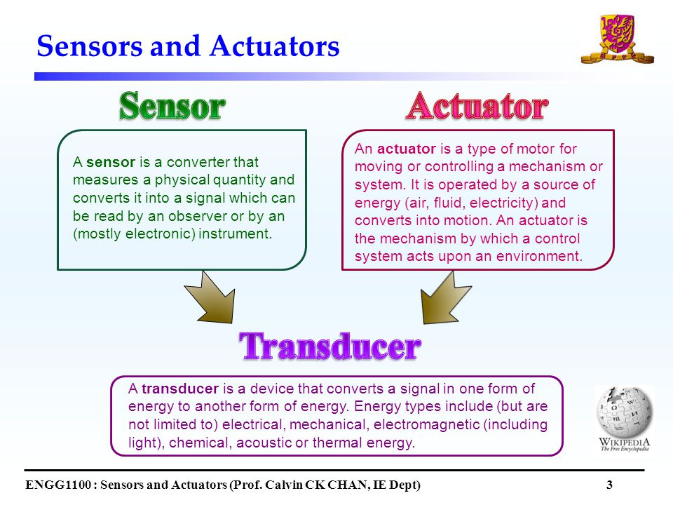 Sensors and Actuators ENGG1100 : Sensors and Actuators (Prof.