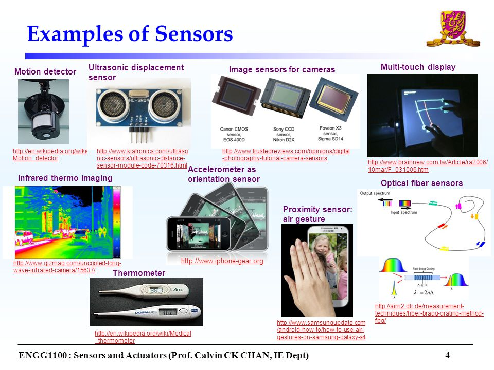 Examples of Sensors ENGG1100 : Sensors and Actuators (Prof.