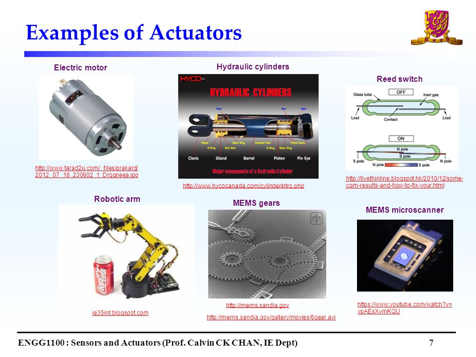 Examples of Actuators ENGG1100 : Sensors and Actuators (Prof.