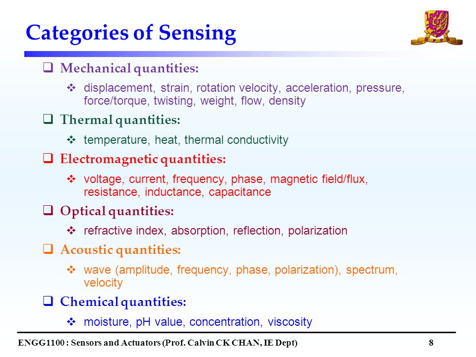 Categories of Sensing ENGG1100 : Sensors and Actuators (Prof.