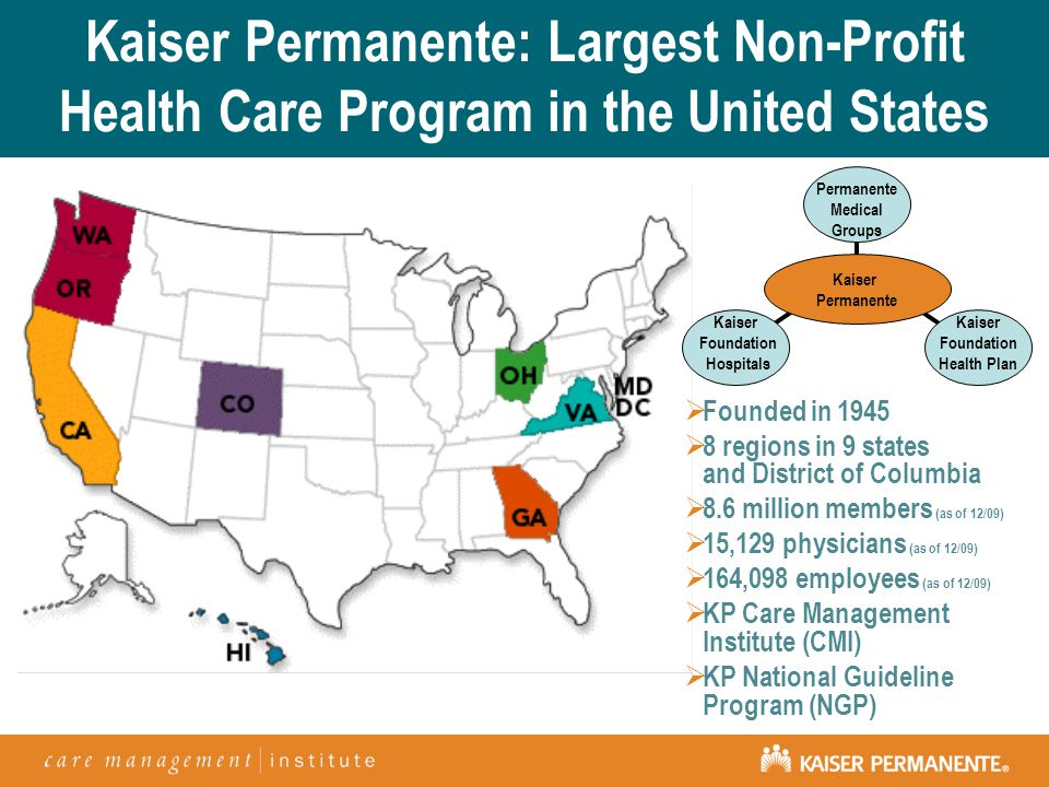Kaiser Permanente: Largest Non-Profit Health Care Program in the United States  Founded in 1945  8 regions in 9 states and District of Columbia  8.6 million members (as of 12/09)  15,129 physicians (as of 12/09)  164,098 employees (as of 12/09)  KP Care Management Institute (CMI)  KP National Guideline Program (NGP) Kaiser Foundation Hospitals Permanente Medical Groups Kaiser Foundation Health Plan Kaiser Permanente