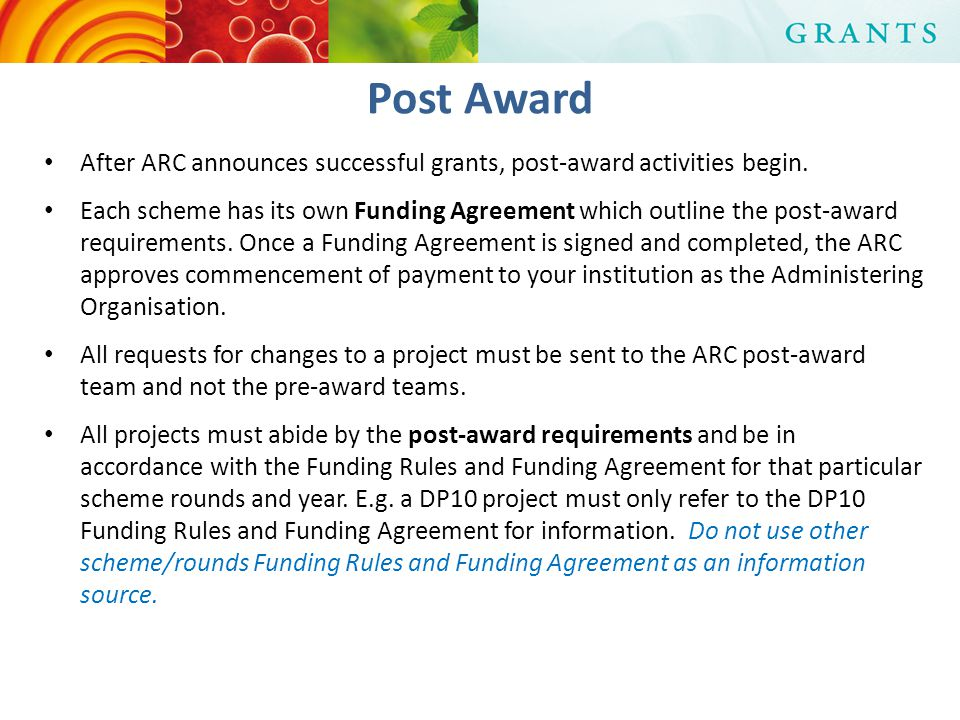 After ARC announces successful grants, post-award activities begin.