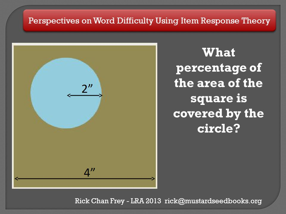 How to Know Something Without Knowing Anything About It  Remember back to your 5th grade math, calculating the area of a square, circle and calculating a ratio.