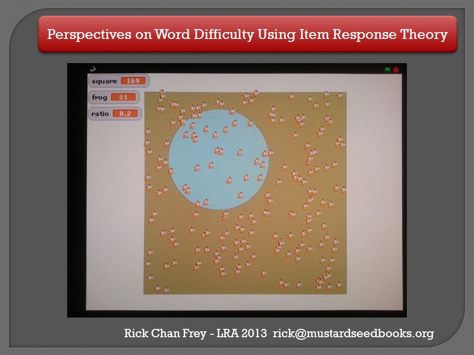 Perspectives on Word Difficulty Using Item Response Theory Rick Chan Frey - LRA 2013 rick@mustardseedbooks.org