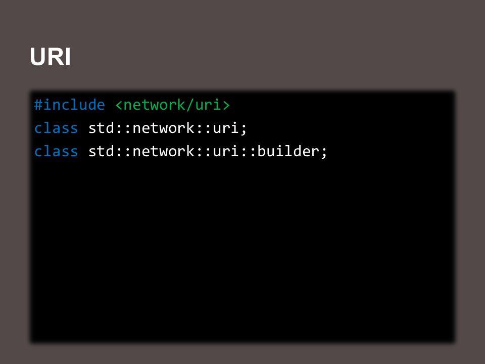 URI #include class std::network::uri; class std::network::uri::builder; #include class std::network::uri; class std::network::uri::builder;