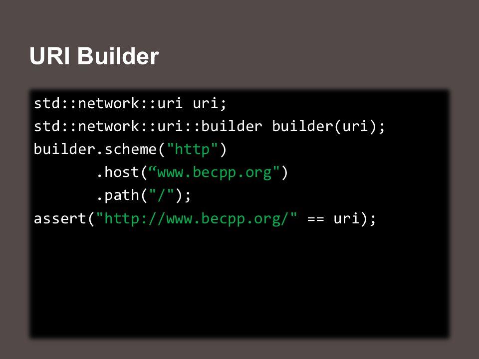 URI Builder std::network::uri uri; std::network::uri::builder builder(uri); builder.scheme( http ).host( www.becpp.org ).path( / ); assert( http://www.becpp.org/ == uri); std::network::uri uri; std::network::uri::builder builder(uri); builder.scheme( http ).host( www.becpp.org ).path( / ); assert( http://www.becpp.org/ == uri);