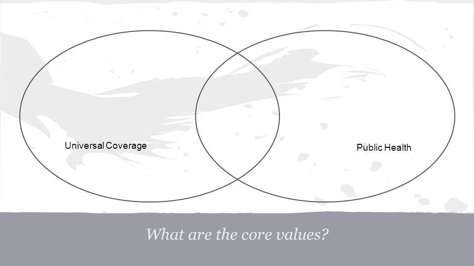 What are the core values? Universal Coverage Public Health