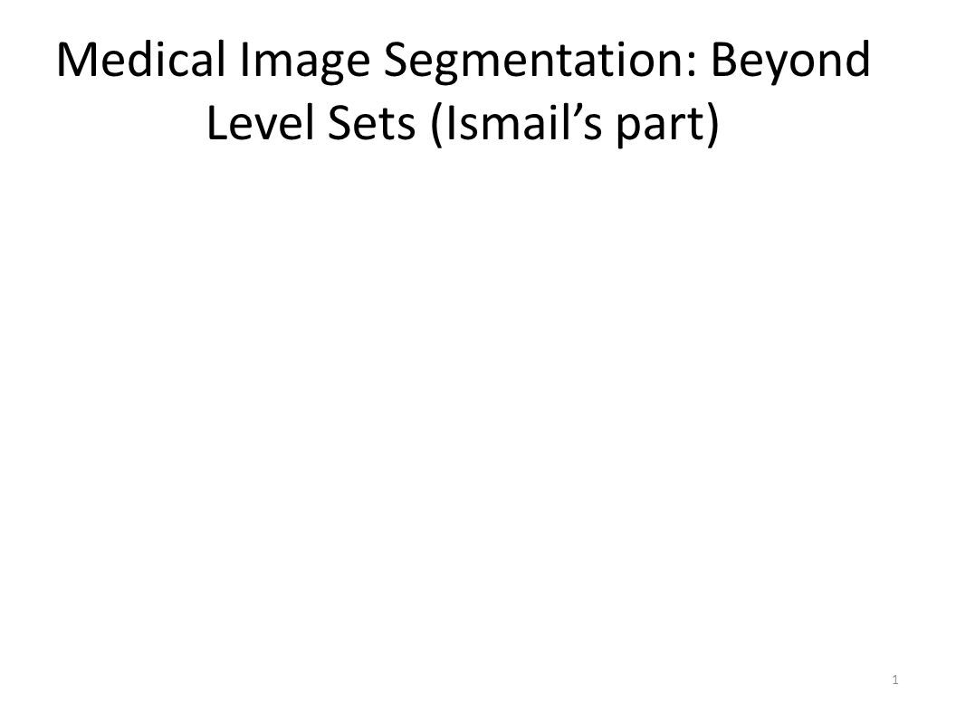 Medical Image Segmentation: Beyond Level Sets (Ismail's part) 1