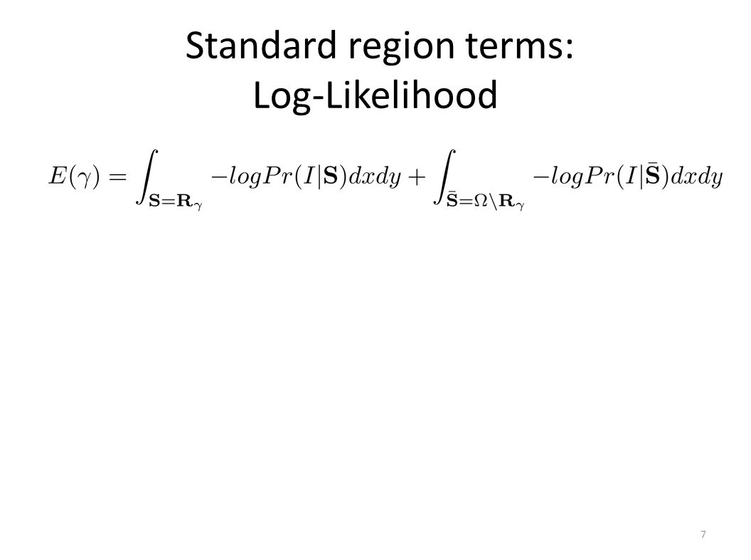 7 Standard region terms: Log-Likelihood