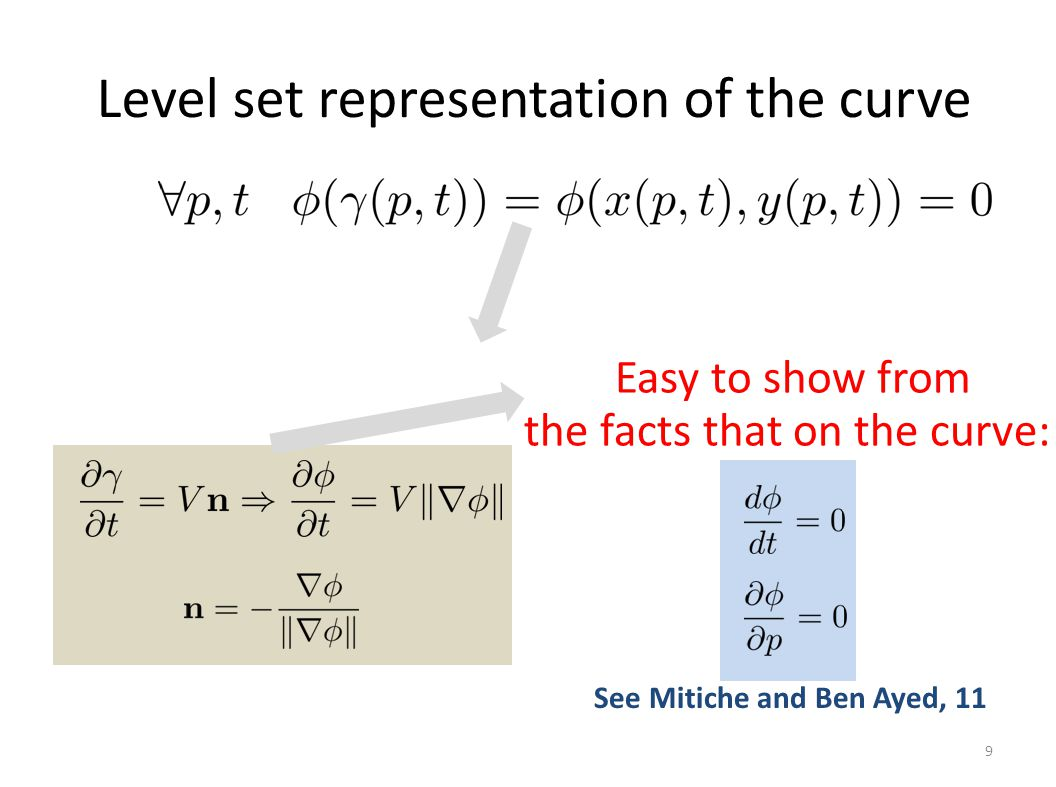 Level set representation of the curve 9 Easy to show from the facts that on the curve: See Mitiche and Ben Ayed, 11