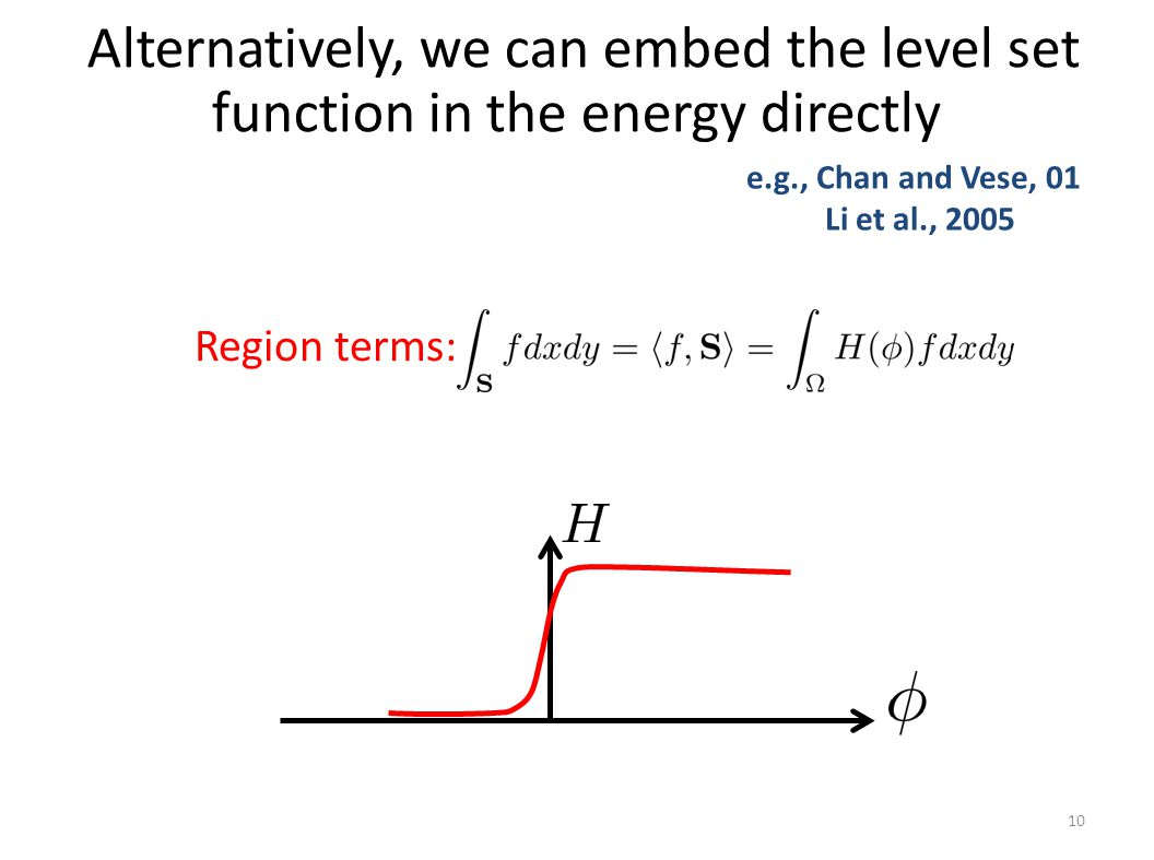 Alternatively, we can embed the level set function in the energy directly 10 Region terms: e.g., Chan and Vese, 01 Li et al., 2005