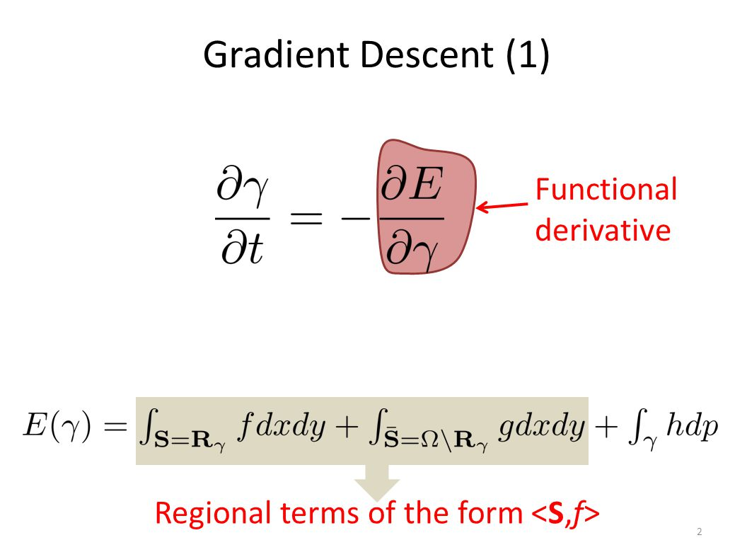 Gradient Descent (1) 2 Functional derivative Regional terms of the form