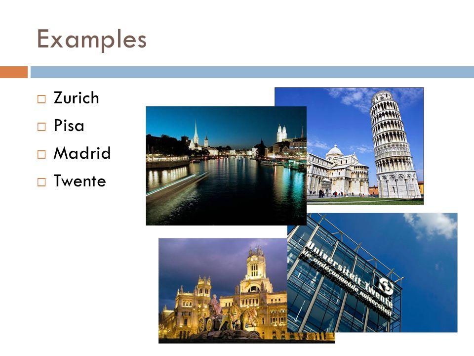 Examples  Zurich  Pisa  Madrid  Twente