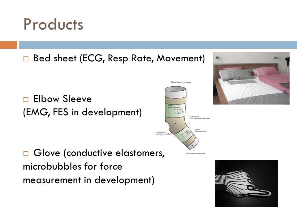 Products  Bed sheet (ECG, Resp Rate, Movement)  Elbow Sleeve (EMG, FES in development)  Glove (conductive elastomers, microbubbles for force measurement in development)