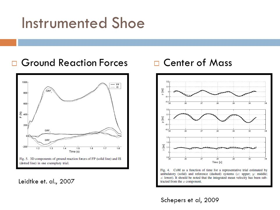 Instrumented Shoe  Ground Reaction Forces  Center of Mass Leidtke et.
