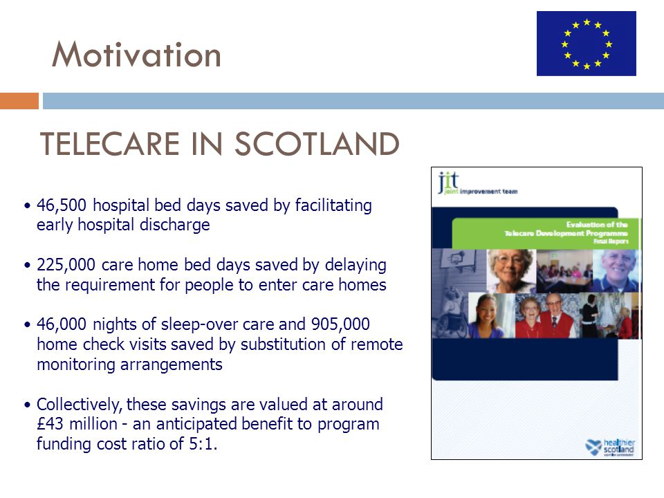 46,500 hospital bed days saved by facilitating early hospital discharge 225,000 care home bed days saved by delaying the requirement for people to enter care homes 46,000 nights of sleep-over care and 905,000 home check visits saved by substitution of remote monitoring arrangements Collectively, these savings are valued at around £43 million - an anticipated benefit to program funding cost ratio of 5:1.