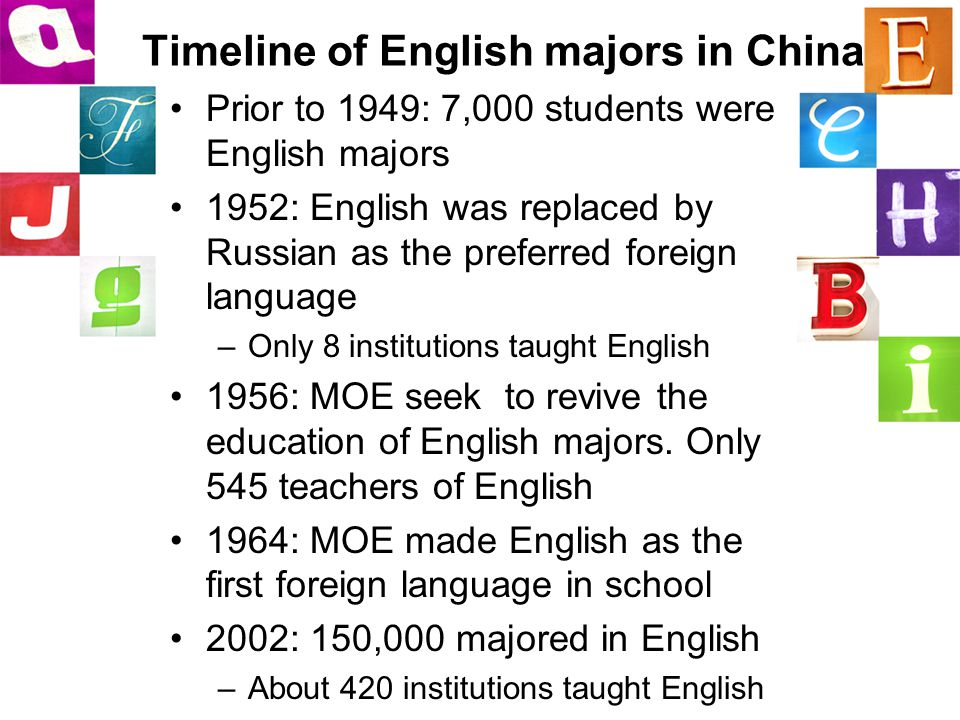 Timeline of English majors in China Prior to 1949: 7,000 students were English majors 1952: English was replaced by Russian as the preferred foreign language –Only 8 institutions taught English 1956: MOE seek to revive the education of English majors.