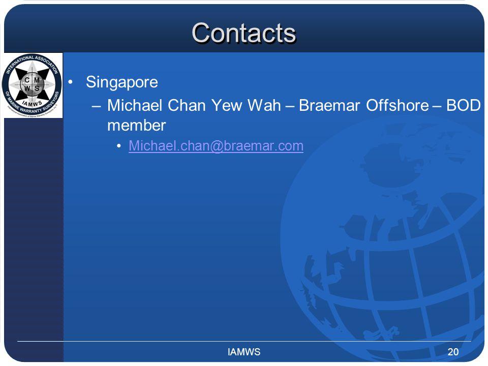 Contacts Singapore –Michael Chan Yew Wah – Braemar Offshore – BOD member Michael.chan@braemar.com IAMWS20